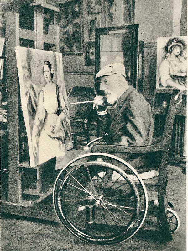 Renoir in his wheelchair in 1914 (aged 72)