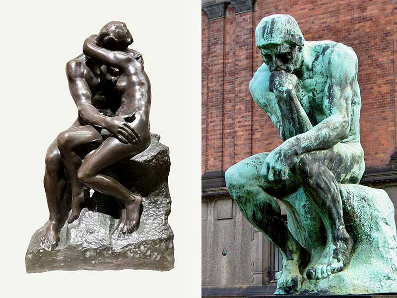 Rodin's two most famous works: The Kiss and The Thinker