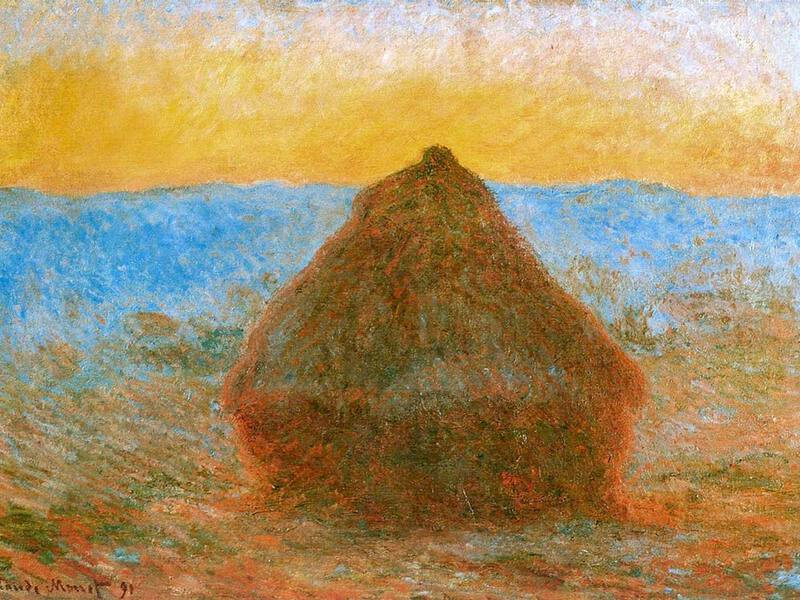 Claude Monet's Haystacks at Sunset
