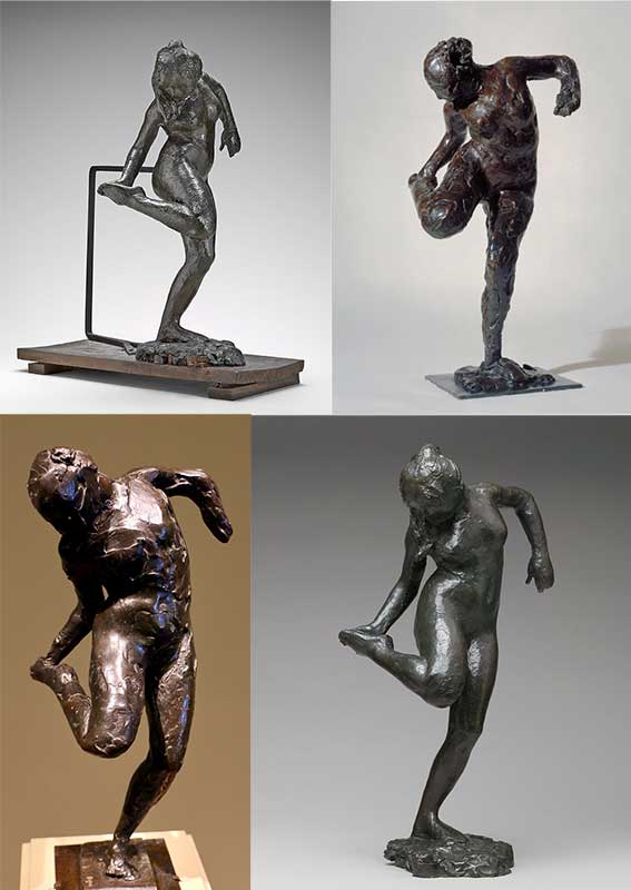 The four versions of Dancer Looking at the Sole of Her Right Foot
