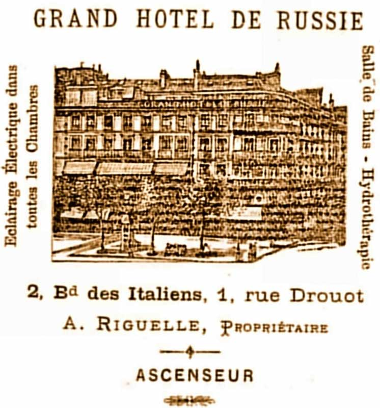 A surviving advert for the Grand Hotel de Russie
