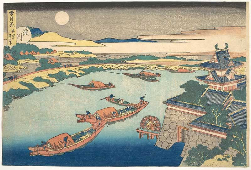 Moonlight on the Yodo River by Hokusai