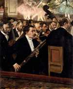 Degas loved painting scenes from unusual angles. Instead of focussing on the stage, he places the orchestra in the foreground.