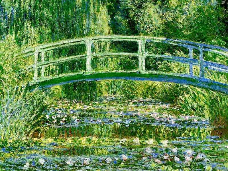 Monet added a Japanese Bridge to his Water Lily garden in the mid 1890s; it gave his compositions structure and he painted it a number of times.