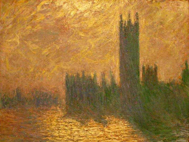 Another of Monet's series was of the Houes of Parliament. He repeatedly returned to London to paint versions of both this subject and Westminster bridge.
