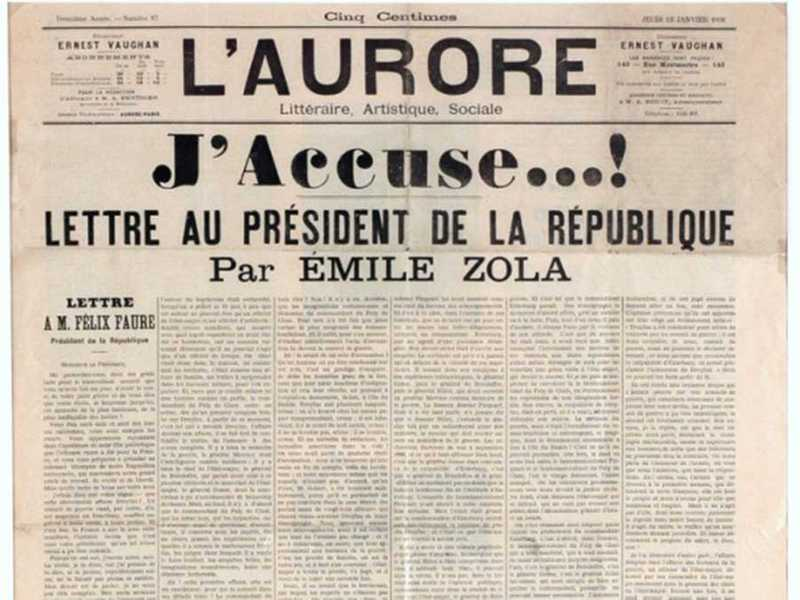 "Emile Zola's famous open letter to the French President, ""J'Accuse ...!"""