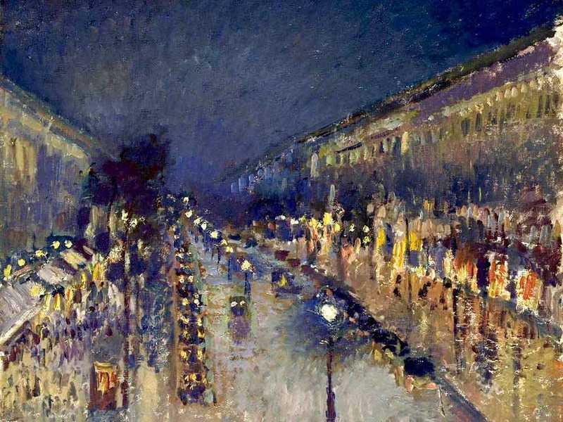 Camille Pissarro's Boulevard Montmartre at Night