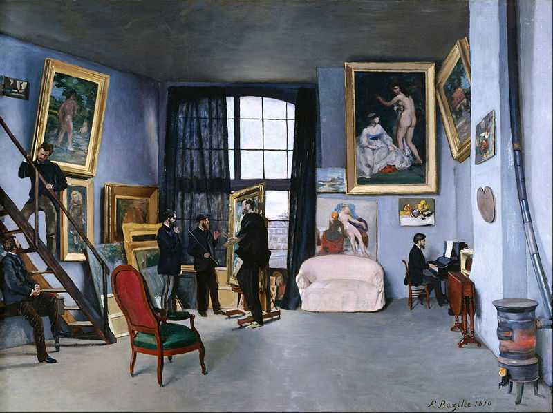 'Studio in Rue de La Condamine', by Bazille, 1870, Musée d'Orsay, Paris. Among Bazille's friends portrayed are Pierre Auguste Renoir sitting, and Eduard Manet next to Bazille, who portrays himself painting.